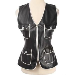 Gaby Black Vegan Leather White Trim Full Zip Vest